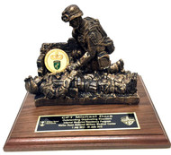 "Combat medic military statue mounted on genuine walnut 7"" x 9"" base."