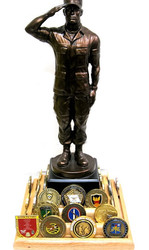 """14-1/2"""" tall soldier saluting statue mounted on a 9"""" x 9"""" x 4"""" genuine oak challenge coin display stand.  Total height is 18"""".  Display stand can accommodate up to 9 each 2"""" diameter challenge coins per side and it is attached to a rotating base.  Challenge coins are not included."""