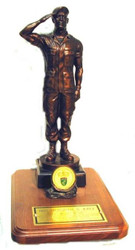 """18"""" tall bronze tone saluting Soldier saluting military statue mounted on a 9"""" x 12"""" genuine walnut base with coin holder.  Coin not included Army medallion will be sent instead."""