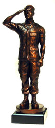 """15"""" tall Soldier saluting military statue mounted on black base.  Great artistic detail on this product. Engraving area is 3-7/8 inches wide by 1.0 inch high. Cap will be sent once beret supplies are exhausted."""