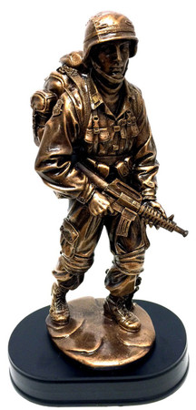"14"" tall Soldier standing patrol with rifle bronzetone military statue."