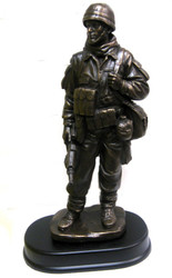 "14"" tall bronze tone Soldier military statue mounted on black base."