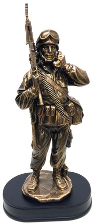 """14"""" tall bronzetone Soldier military statue mounted on black base holding a military field phone wearing a radio backpack."""
