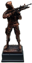 Soldier Aiming Rifle Military Statue