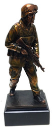 "Highly detailed 11.5"" tall bronze tone Soldier statue mounted on black base."