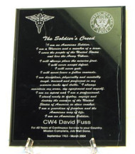 "Solid black marble 8"" x 10"" military plaque with Soldier's Creed laser engraved.  If applicable, specify which logos to engrave."