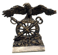 "Awesome U.S. Army Quartermaster branch insignia bronzetone military statue award measuring 9"" tall x 6.0"" long x 4-1/2"" deep.  Wingspan is 9-1/2""; engraving plate is 6.0"" x 3/4"""