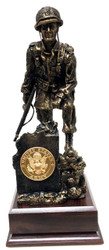 "13"" total height Iron Mike Military Statue mounted on a 5-1/2""W x 5-1/2""D x 2.0""H laminated cherry base.  Army medallion is included."