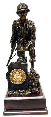 """13"""" total height Iron Mike Military Statue mounted on a 5-1/2""""W x 5-1/2""""D x 2.0""""H laminated cherry base.  Army medallion is included."""