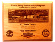 PLAQUE HIGHLY DETAILED, 8X10, GENUINE RED ALDER, Evans Community Hospital, Colorado