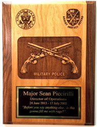 "9"" x 12"" Two Tone Red Alder Military Police Corps Plaque Laser Engraved at 600 dpi for stunning results."