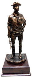 "15-1/2"" tall buffalo soldier standing bronze tone military statue mounted on a 6-1/2"" long x 6-1/2"" wide x 2"" high cherry laminated base."