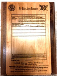 Laser Engraved Military Plaque THE IG