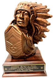 Awesome Military Statue Air Force CMSgt Indian Chief Bust , 10 inches tall mounted on a 5 inches wide by  7 inches long by 1 inch high walnut base.