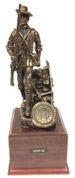 """Highly detailed bronze tone 14"""" tall National Guard Minuteman Military Statue mounted on a 5-1/2""""W x 5-1/2""""D x 4""""H laminated cherry wood base.  National Guard or Air National Guard medallion is included."""