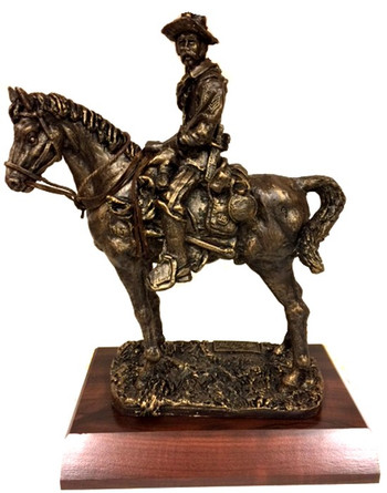 "12"" Total Height Buffalo Soldier ""Old Bill"" on Horse Bronze Tone Military Statue Mounted on a 11""W x 8""D x 1-1/2""H Cherry Finish Base."