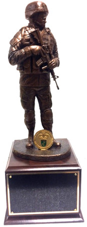 """17-1/2"""" TOTAL HEIGHT AWESOME SOLDIER STATUE. MOUNTED ON A 6-1/2"""" X 6-1/2"""" X 5"""" LAMINATED CHERRY BASE."""