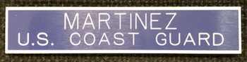 US Coast Guard standard military nameplate blue.  Ships within 48 hours  if ordered by 1200 noon Eastern Time.  Highest Quality Available in the Marketplace.  Blanks are Manufactured by Gravotech, Inc. formerly New Hermes, Inc.  This Nameplate can be used for other than Military Applications.  Fasteners such as Magnet, Standard Military Clutch, Pins and Bulldog Clips are available. Please call if expedited service is required.