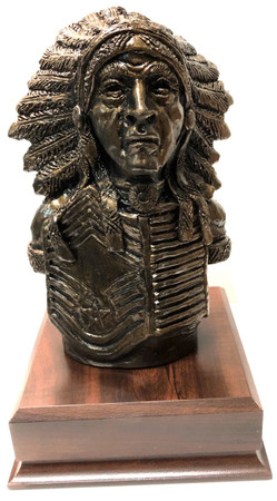 "Indian Chief Statue with US Air Force CMSgt Insignia 11-1/2 inches tall mounted on a 6-1/2"" wide by 6-1/2 long by 2-1/4"" tall laminated cherry base."