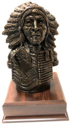 """Indian Chief Statue with US Air Force CMSgt Insignia 11-1/2 inches tall mounted on a 6-1/2"""" wide by 6-1/2 long by 2-1/4"""" tall laminated cherry base."""