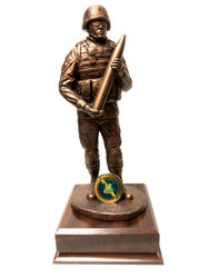"Awesome military statue of  a Field Artillery Soldier ""CANNONEER"" mounted on a walnut laminated base 6-1/2 inches Wide x 6-1/2 inches Deep x 2 inches Height.  Total height is 14-3/4"". There is a slot at the base of the military statue where a challenge coin can be installed. Displayed coin is for example only and not provided."