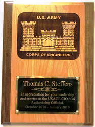Military Plaque Laser Engraved Army Corps of Engineeers