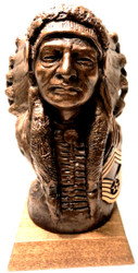 Indian Chief Cheyenne Military Statue with US Air Force CMSgt Insignia 8 inches tall mounted on a 4 inches wide by 4 inches long by 3/4 inches tall genuine walnut base.