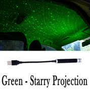 Plug and Play - Car and Home Ceiling Romantic USB Night Light  - GREEN