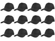 (12)pc Plain Black Dad Hats