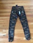 Mens Camoflauge Knee Cut Slim Fit Tapered Jeans