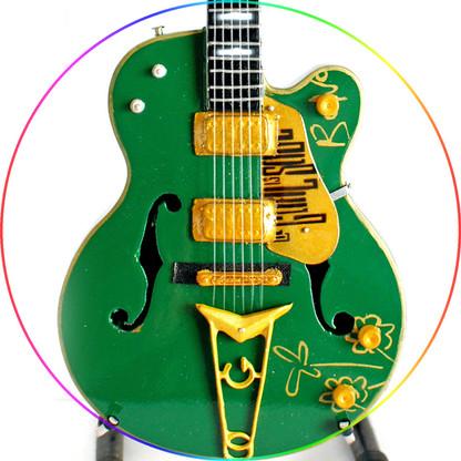 Bono U2 Miniature Guitar Replica Collectible The Goal is Soul Green
