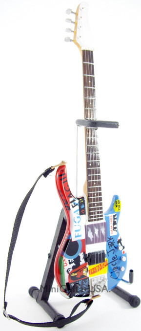 Flea Miniature Bass Guitar Replica Collectible Red Hot Chili Pepper  Psychedelic Bass