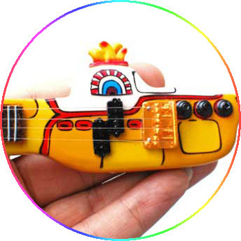 The Beatles Miniature Guitar Replica Collectible Yellow Submarine Shaped Bass Left handed