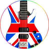 Rick Savage Miniature Bass Guitar Replica Collectible DEF LEPPARD Union Jack Bass
