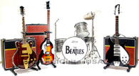 The Beatles Fab Four Miniature Guitars Replica Collectible Set of 4 with Guitar and Bass Amp