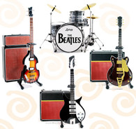 Ed Sullivan Beatles Fab Four Miniature Guitar Guitar Replica Collectible Drums Bass Guitars and Amps