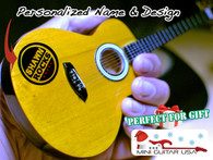 "Personalized Custom Miniature "" Your Own Rockin' Guitar "" Acoustic Natural Wood Classic"