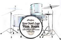 Miniature Drums Custom Personalized Sparkling Silver Color