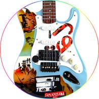 Billie Joe Armstrong Green Day Green Blue Burnt DIstressed Miniature Guitar