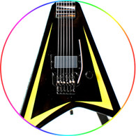 Alexi Laiho Children of Bodom V Black Yellow Miniature Guitar Collectible
