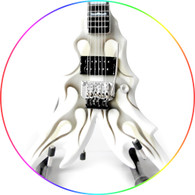 B.C. Rich Draco White Ghost Flame Handcrafted Miniature Guitar Replica Collectible