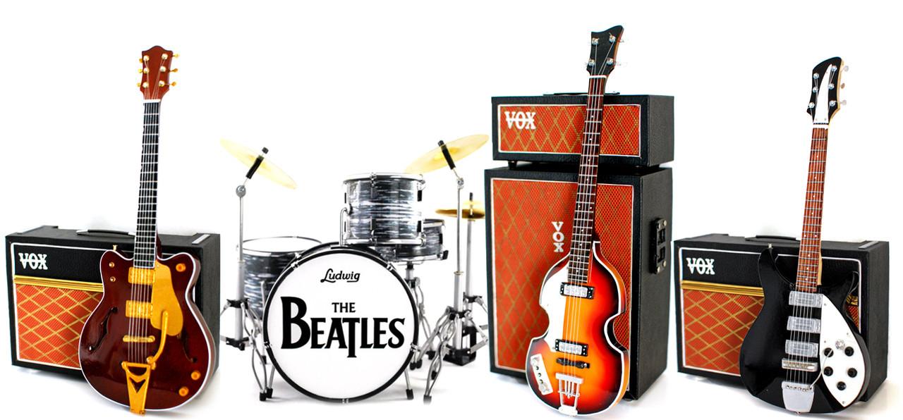 The Beatles Fab Four Ed Sullivan Miniature Guitar Bass