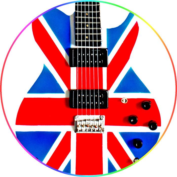 Wooden Miniature Union Jack Design Mini Guitar Replica