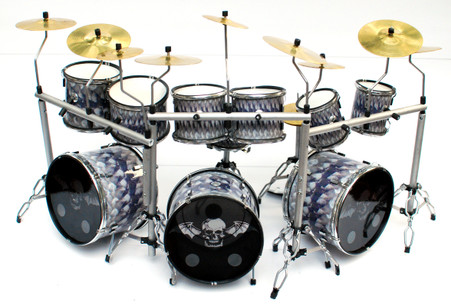 "Jimmy ""The Rev"" Sullivan Avenged Sevenfold Snake Triple Miniature Drums Display"