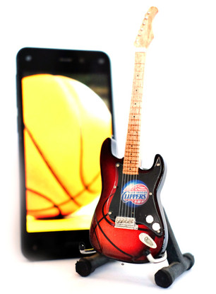 "NBA Theme Los Angeles Clippers Rocks 6"" Super Mini Miniature Guitar with Magnet and Stand"
