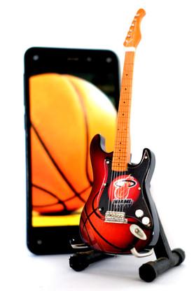 "NBA Theme Miami Heat Rocks 6"" Super Mini Miniature Guitar with Magnet and Stand"