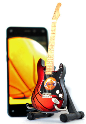 "NBA Theme Los Angeles Lakers Rocks 6"" Super Mini Miniature Guitar with Magnet and Stand"