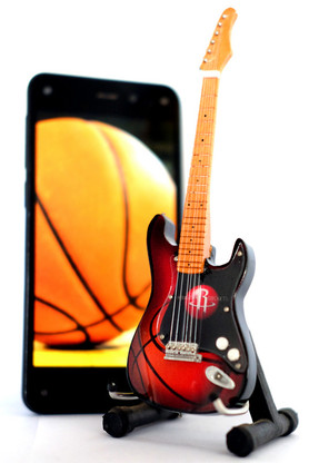 """NBA Theme Houston Rockets Rocks 6"""" Super Mini Miniature Guitar with Magnet and Stand"""