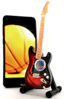 "NBA Theme Golden State Warriors Rocks 6"" Super Mini Miniature Guitar with Magnet and Stand"