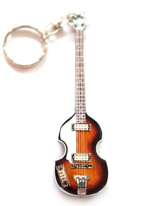 "Paul McCartney The Beatles Hofner Bass 4"" Miniature Guitar Fridge Magnet & Keychain"